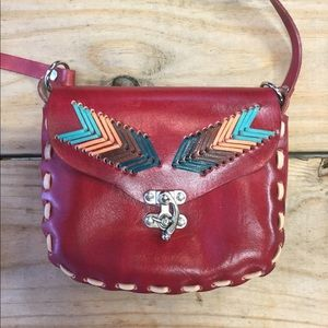 New Anthropologie Mini Woven Red Leather Purse